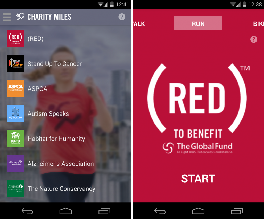 The Charity Miles app